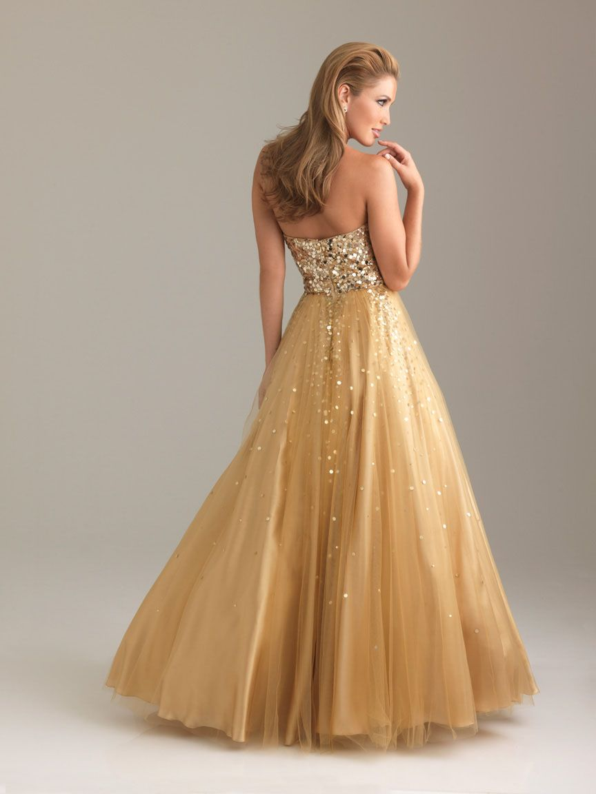 Ball gown sweetheart sequin long gold dress prom dresses