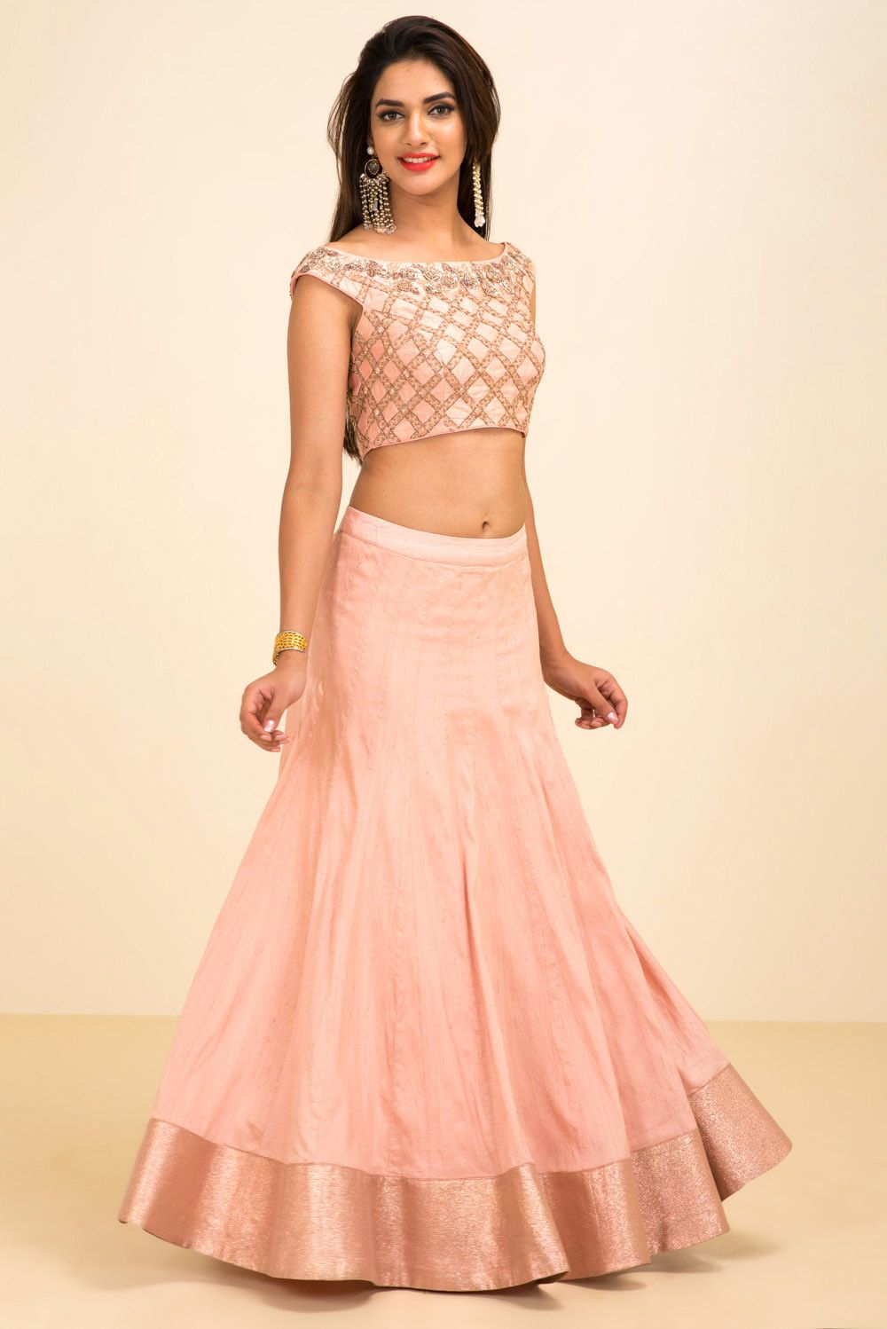 f7c42163c50c1 NISHA SHAINANI pink and gold floral embroidered croptop with skirt style  lehenga