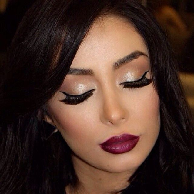 Kiss Out Of Makeup: Gold/brown Eyes W/deep Plum Lips! Perfect For Going Out
