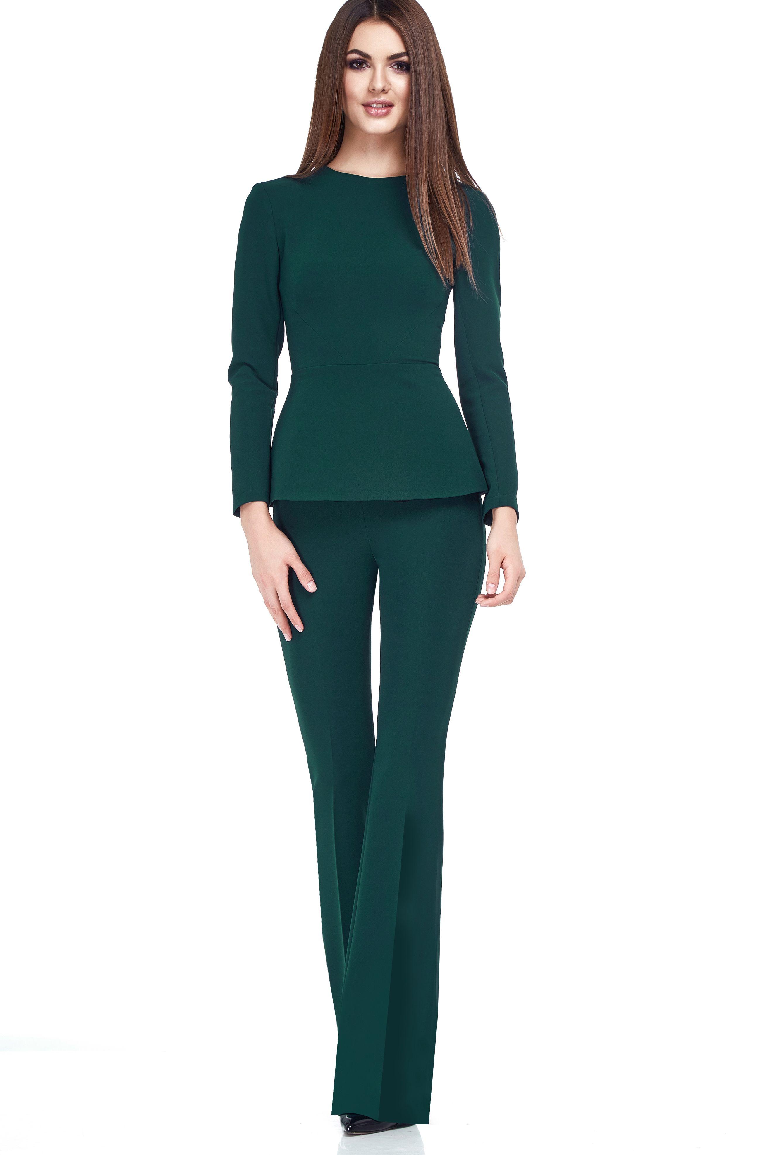 bb4aa6e20d4c89 Женский деловой костюм с брюками клеш зеленого цвета | приталочка ...