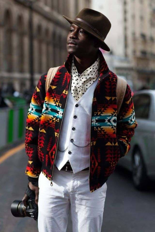 wool jacket in Aztec design | Mens fashion edgy