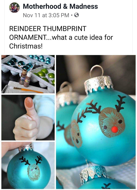 Thumbprint Reindeer Ornaments Xmas Crafts Christmas Crafts For Kids Christmas Ornaments