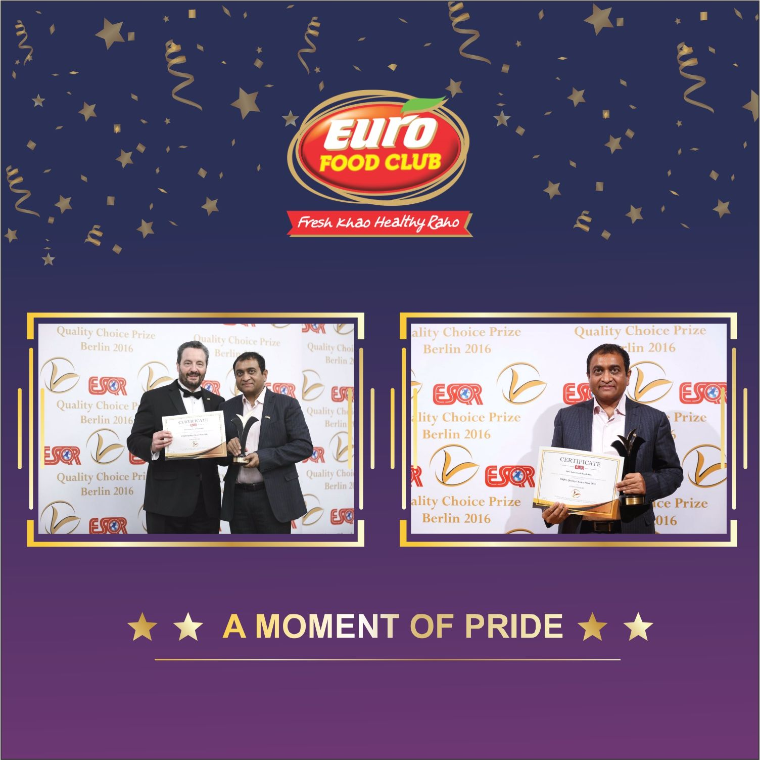 We thank you for your Support! Euro India Fresh Foods Ltd  won