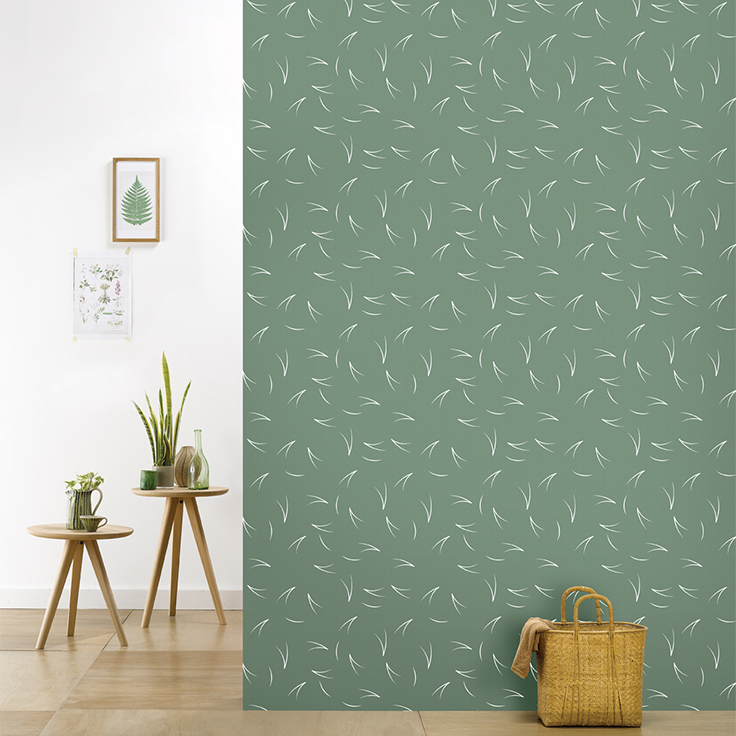 Roomblush behang wallpaper pine needle green behangpapier woonkamer ...
