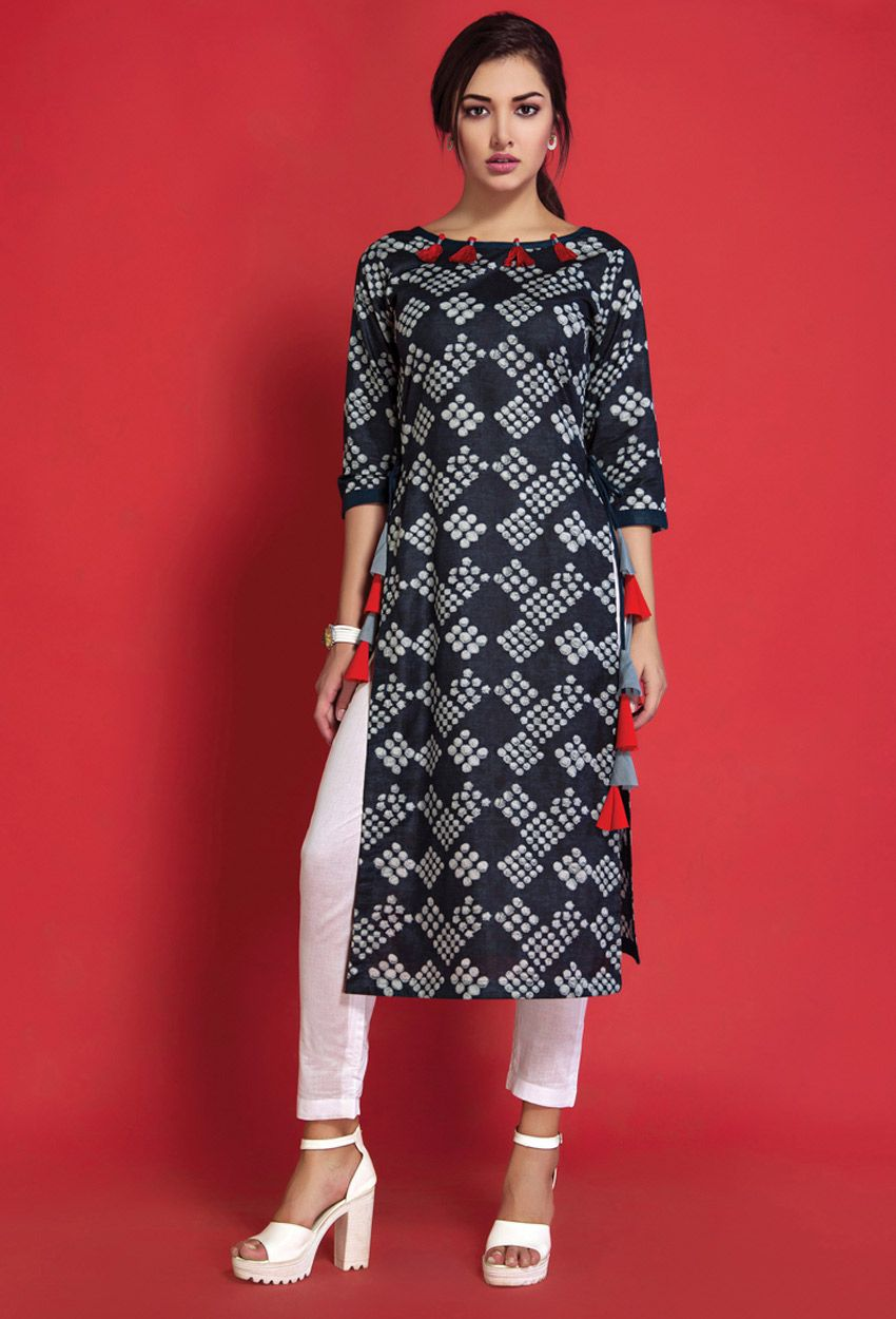 76ea90c4ac5ac0 Shop readymade black,white cotton printed ladies top kurti , freeshipping  all over the world , Item code kucep3