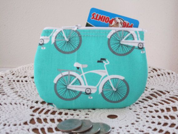 Vintage cruiser bicycle business card clutch zipper small essential vintage cruiser bicycle business card clutch zipper small essential oils case gift card holder in made colourmoves Choice Image