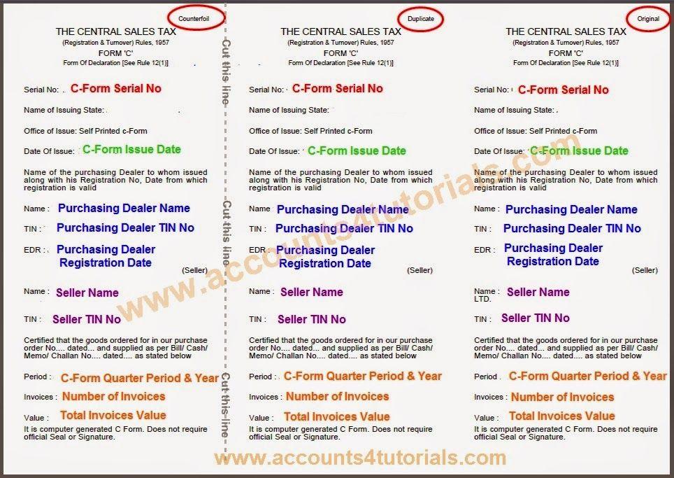 Generate CForm  Telangana Sales Tax    Sales Tax