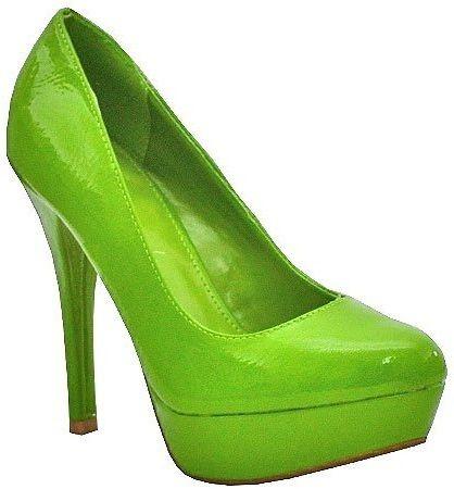 Yellow Red Green Patent Floral Round Toe High Stiletto Heel Platform Pump