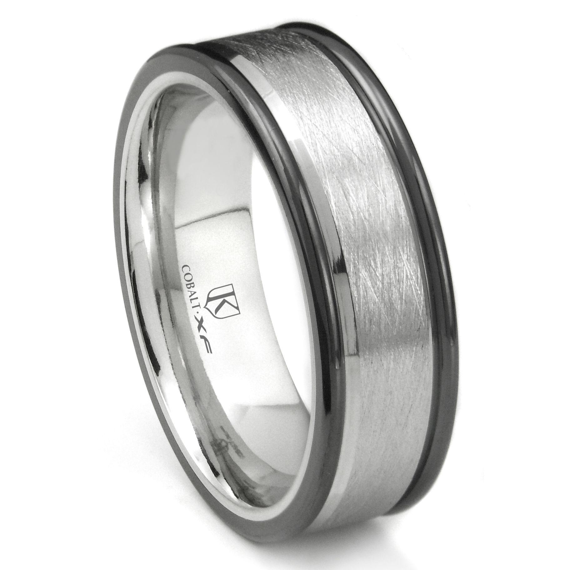 Cobalt XF Chrome 8MM Solitaire Diamond Beveled Wedding Band Ring