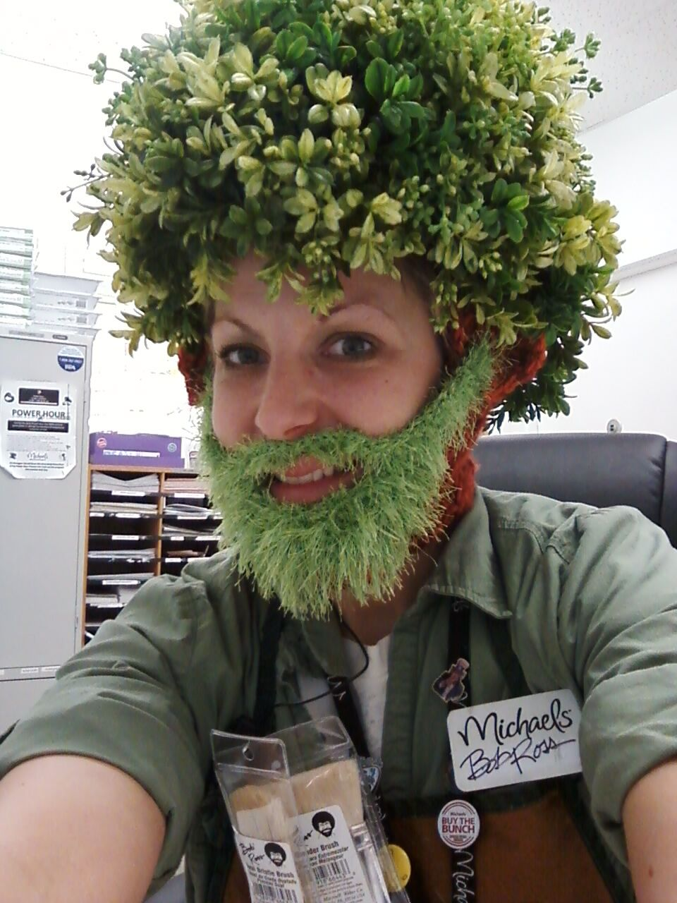 Bob Ross Chia Pet I Crocheted The Head And Beard Then Sewed The Greenery Piece By Piece It Took About 4 Leaf Garlands Fr Chia Pet Costumes Chia Pet Bob Ross