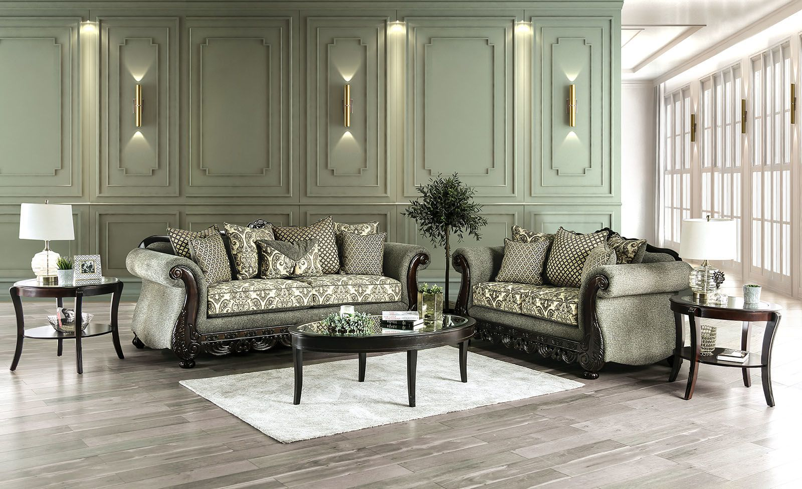 furniture of america justina traditional style gray fabric