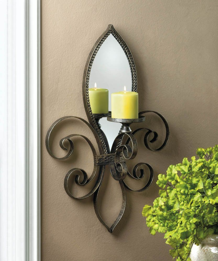Fleur De Lis Mirrored Wall Sconce Mirror Candle Wall Sconce Mirrored Wall Sconce Wall Candles