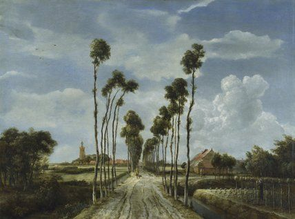 """The Avenue at Middelharnis, 1689, Meindert Hobbema, oil on canvas, 104 x 141 cm., Amsterdam, NL. """"With astonishing subtlety light is shown penetrating cloud, and illuminating, sometimes transiently, sometimes steadily, different portions of the ground, shining through leaves upon other leaves, and multiplying in an endless way the transparency of the picture."""""""