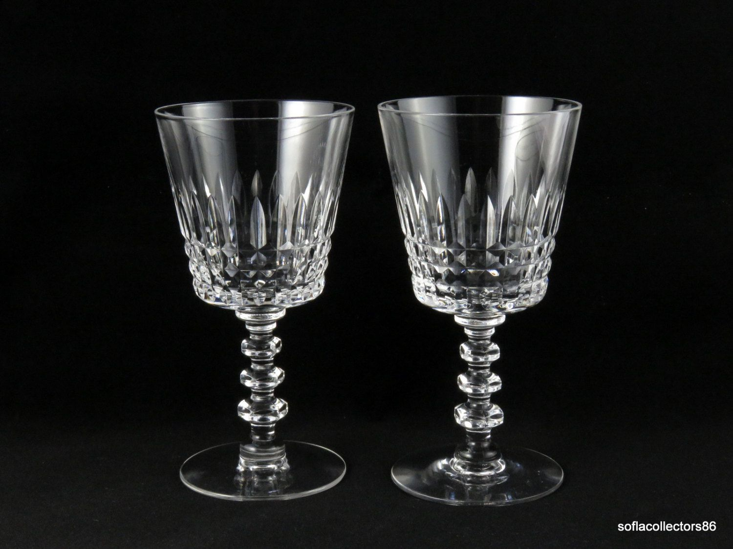 286ab9775a5 Tiffin Glass Williamsburg Pattern Water Glasses - Wine Glasses - Vintage  1950s 1960s Stemware (pair) by soflacollectors86 on Etsy