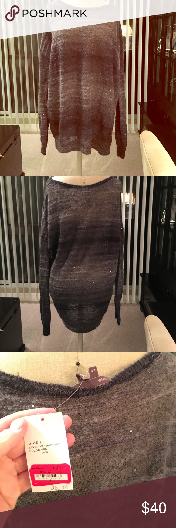 Vince dark grey and light grey sweater BRAND NEW NEVER WORN Vince Sweater. This is 31% wool and very cute with either jeans or leggings. Vince Sweaters Crew & Scoop Necks