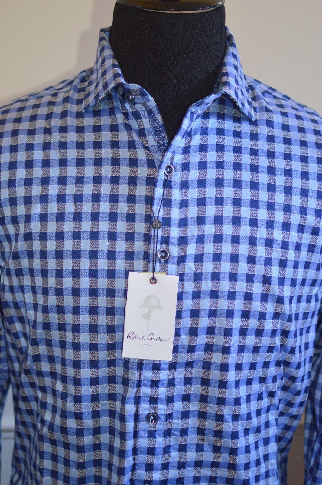 Men's Robert Graham L long sleeve button front shirt blue check Dartmoor NWT