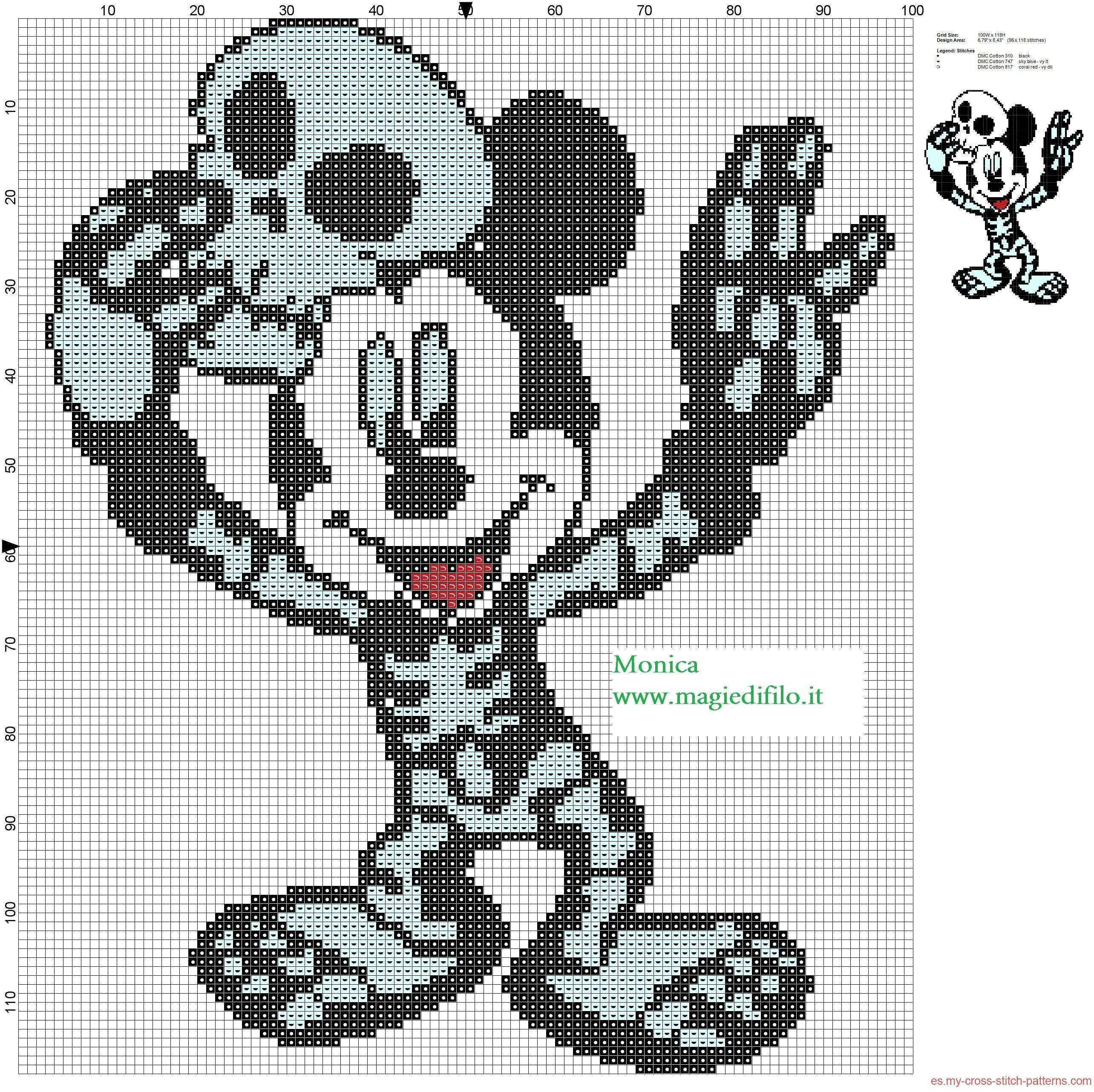 Mickey Mouse esqueletos patron punto de cruz | punto | Pinterest ...