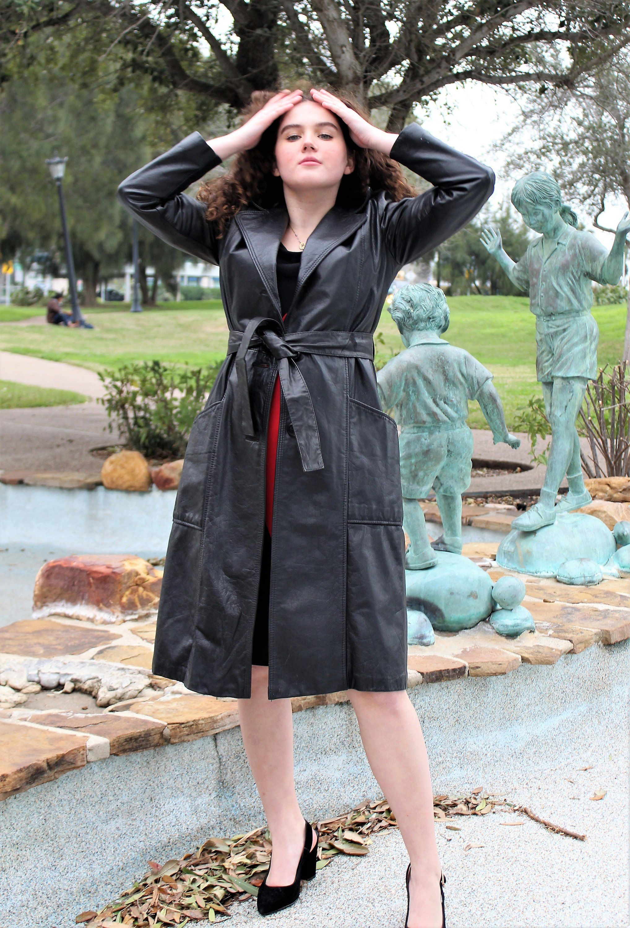 ddc8f8678 Real Leather | Vintage 1970s, Small, Trench Coat, Natural Leather ...