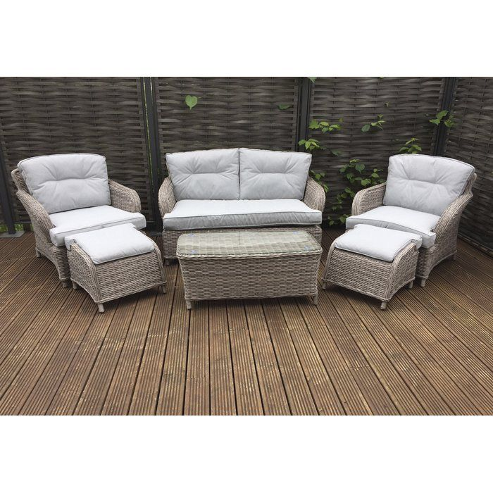 Bernette 4 Seater Rattan Effect Sofa Set With Cushions Garden