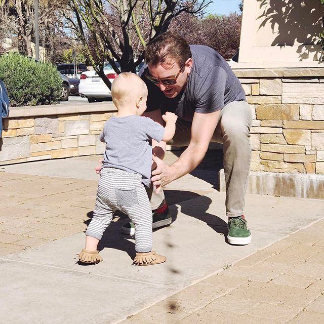 Big news! It only took him 14 months and 4 days to take his first step, but with a little help and encouragement from Dada, he finally did it! @jdwells79 #finnwells #talesofthewellsboys