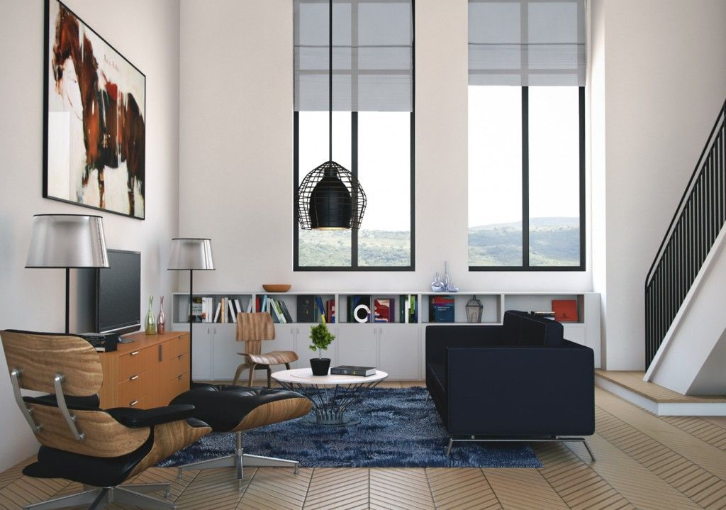 awesome black living room 3d model | Download Realistic Interior & Exterior Scenes and 3d ...