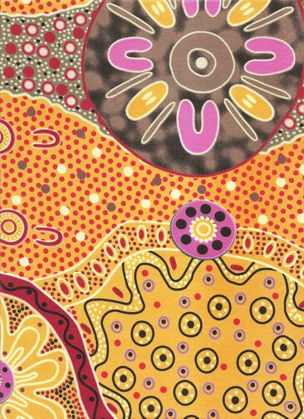 WOMEN DREAMING 2 YELLOW  by FQ or Metre AUSTRALIAN ABORIGINAL ART QUILT FABRIC