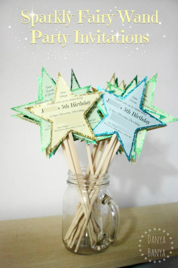 Diy sparkly fairy wand party invitations fairy wands for Birthday wand