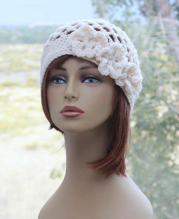 Crochet Womens Hat Flowers Beanie, Boho Lacy Hat , Juliet Cap, Ivory Cream Beanie, All Season Beanie, Unique #hatflower