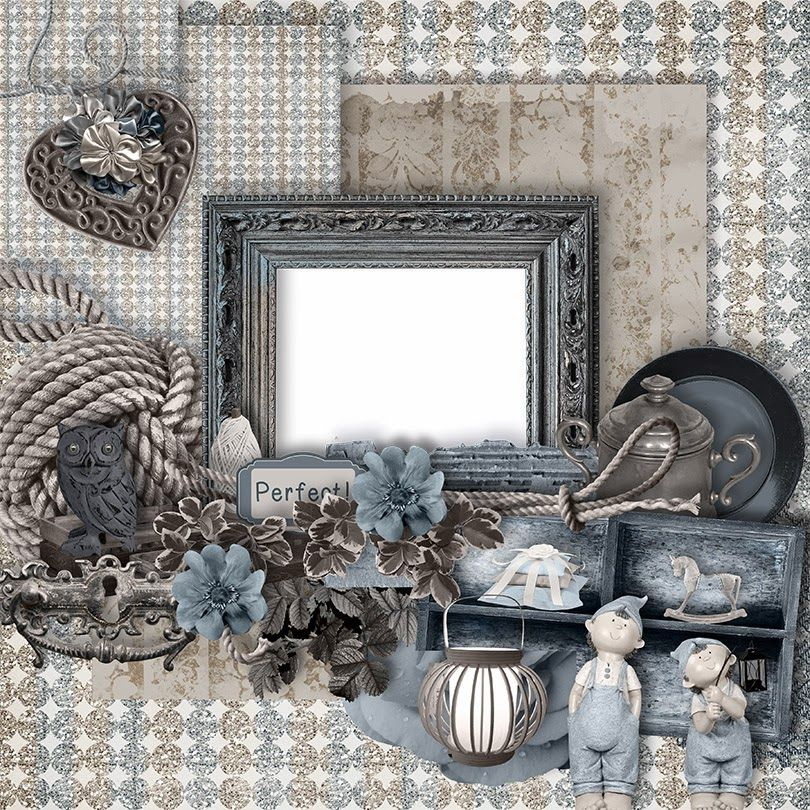 Angelique's Scraps: QP Freebies kit Soft Shades of Blue And Brown