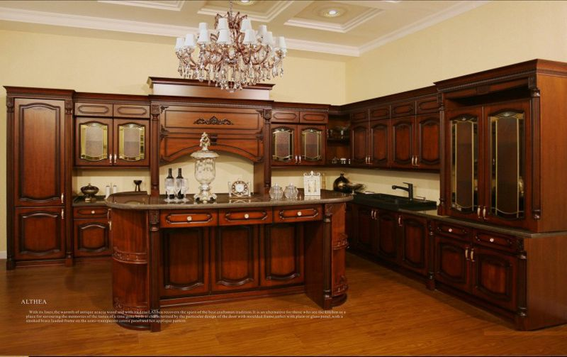 Antique Style Solid Wood Kitchen Cabinet (Br SA03A)