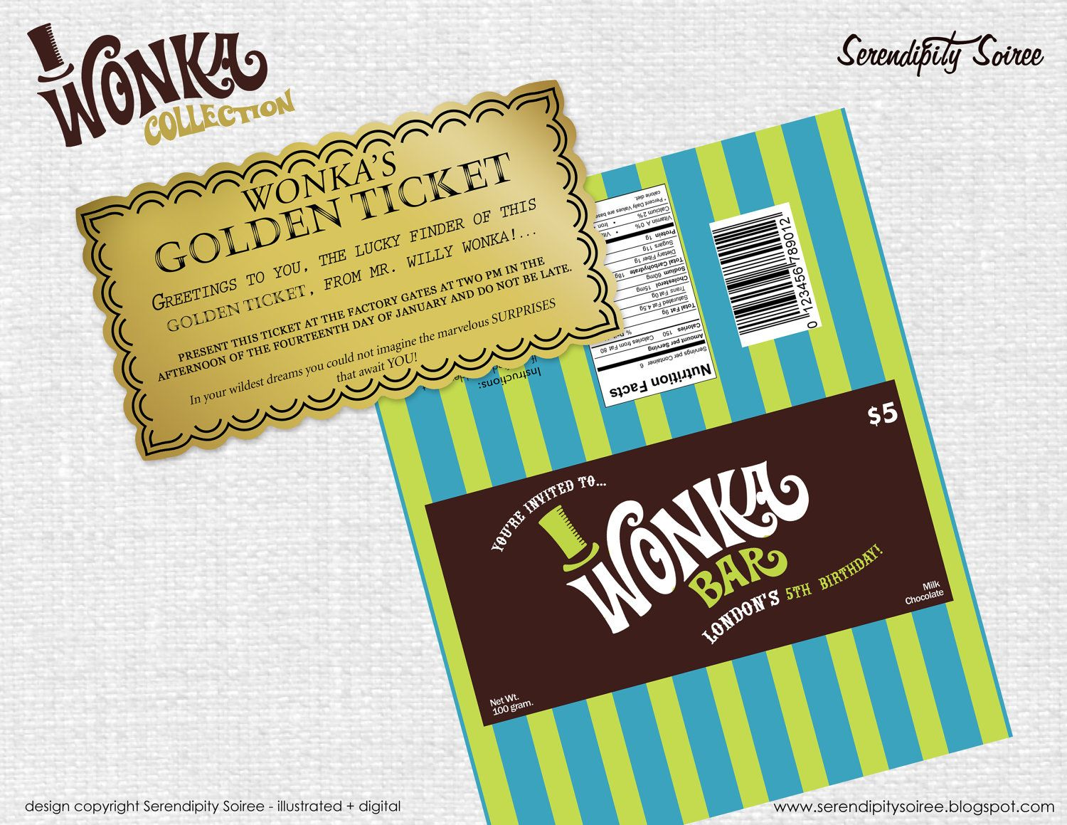 Custom Willy Wonka Bar Golden Ticket Party Invitations Chocolate ...