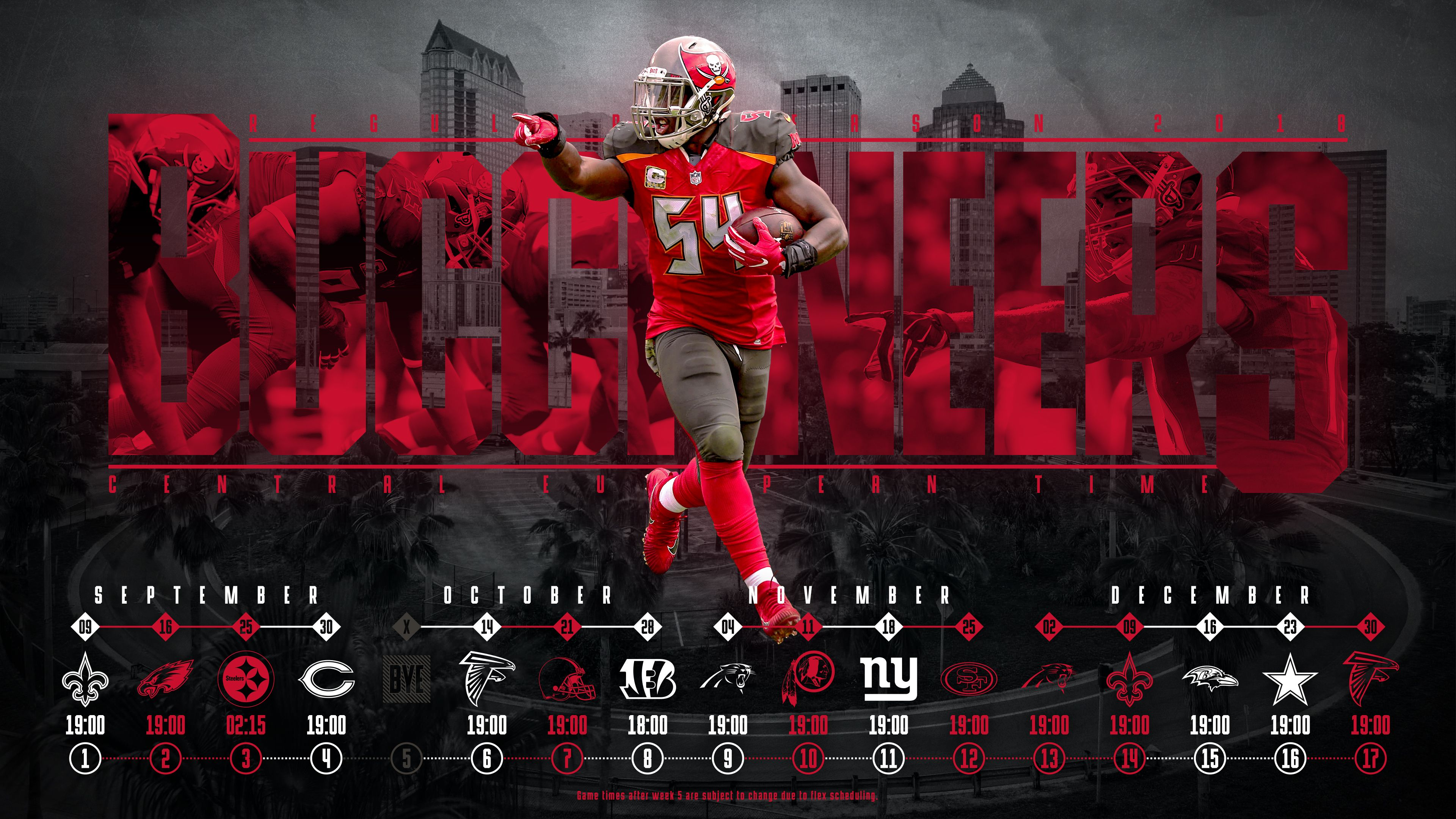 Schedule Wallpaper For The Tampa Bay Buccaneers Regular Season 2018 Central European Time Made By Tobler Gergo Tgersdiy Equipos Nfl Nfl Equipo
