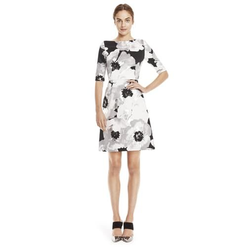 OVERSIZED STAMPED METALLIC FLORAL ELBOW SLEEVE DRESS - SILVER