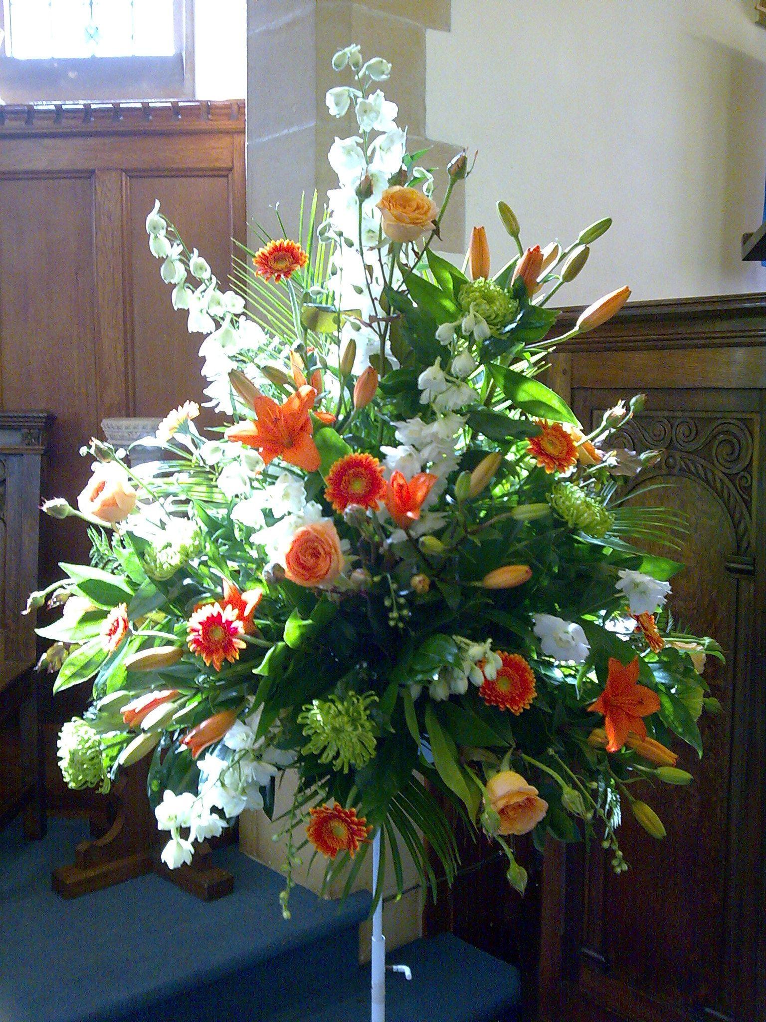 Traditonal pedestal arrangement Large flower arrangements