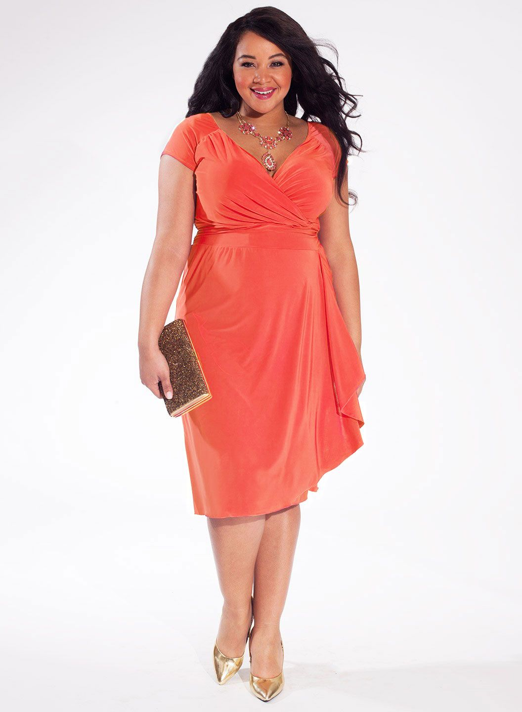 Dakota Plus Size Cocktail Dress In Bright Coral Stylez Pinterest