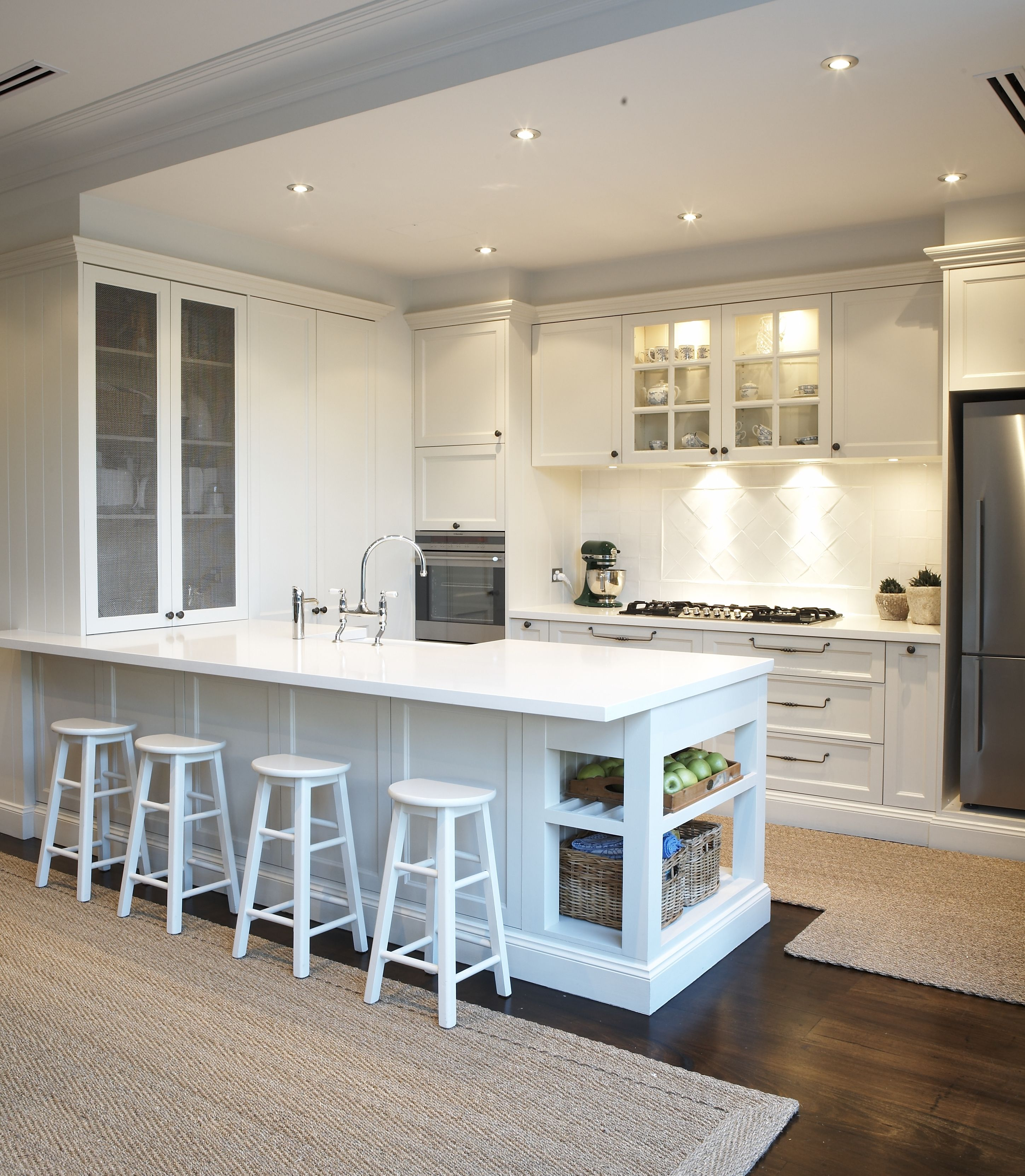Provincial Kitchen, provincial, white, bar stools, downlights ...