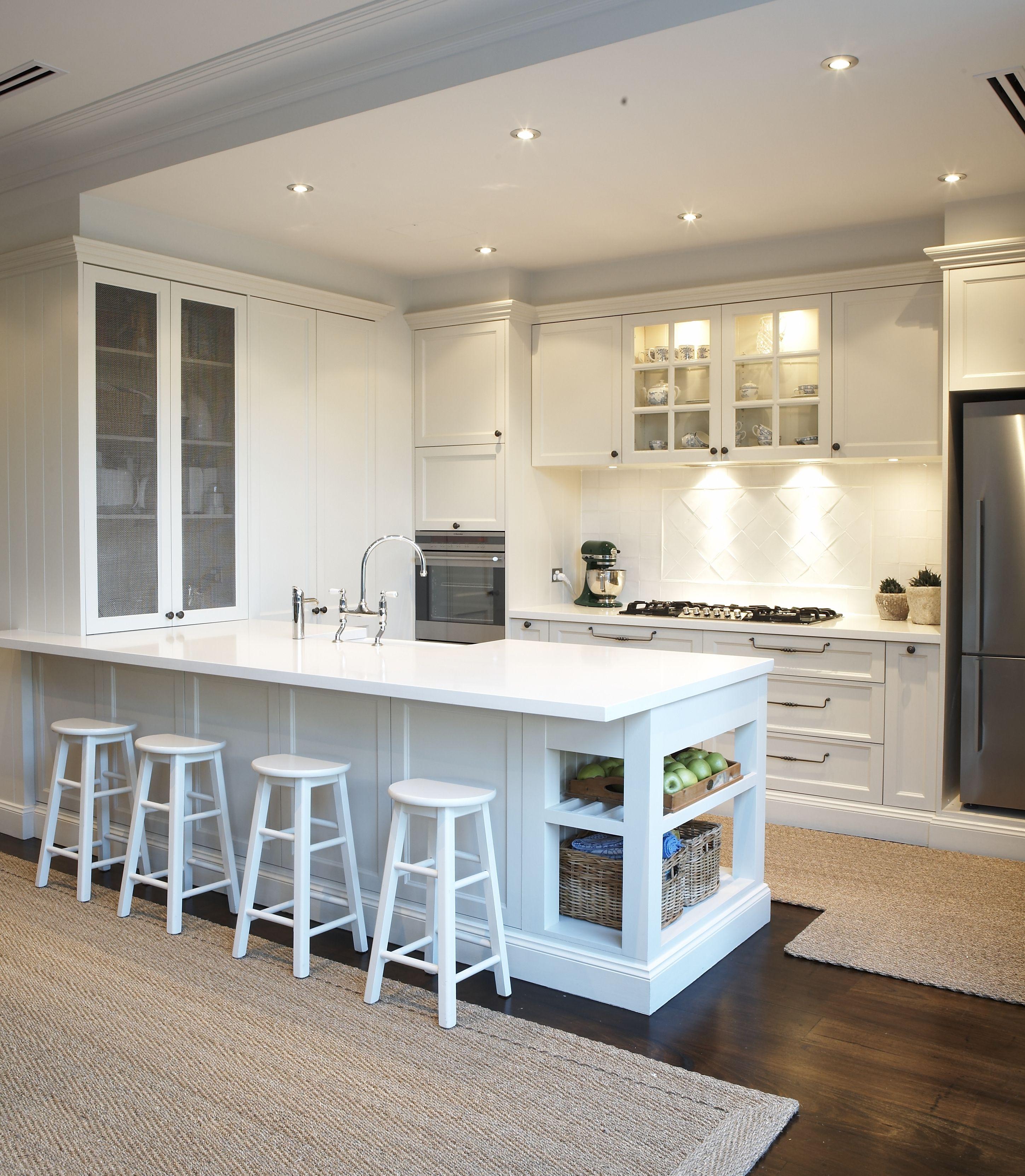 Provincial Kitchen, provincial, white, bar stools