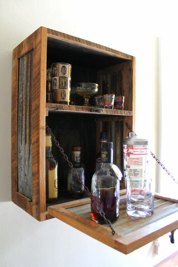 Hanging Wall Cabinet rustic hanging liquor cabinet - murphy bar - wall bar - wine rack