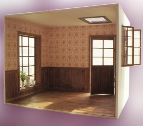 Room Box With Solid Wood Flooring Opening Window Door For 1 6 Scale Doll Miniatyury Remont