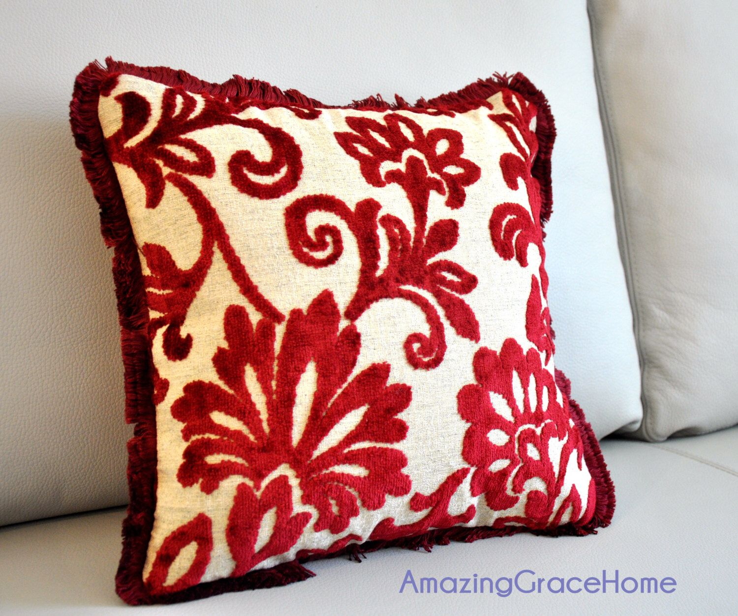 Red velvet pillow cover Embroidered throw pillow floral cushion ...