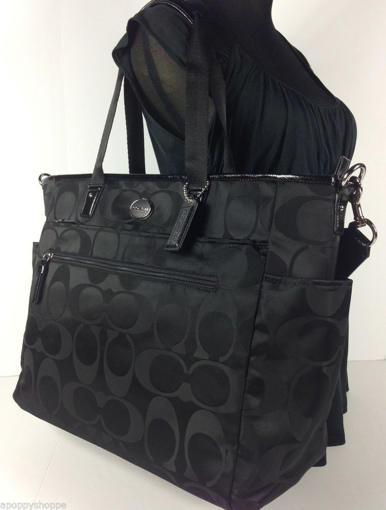 b743dc262 NWT COACH Black Signature Nylon Baby Diaper Bag Tote Changing Pad F77577 NEW