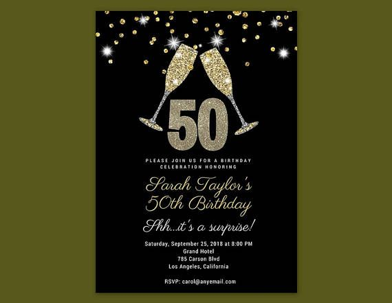 Gold 50th Birthday Invitations Cheers To 50 Years Invitation For Women