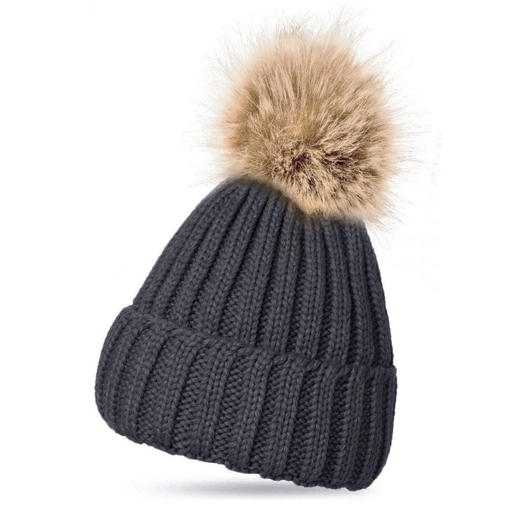 35fac33c9a1 Fashion Women Faux Raccoon Fur Ball Winter Hat Cap For Woman Cap Warm Fur  Pom Poms Bobble Ski Hat Pompoms Skullies Beanies W1