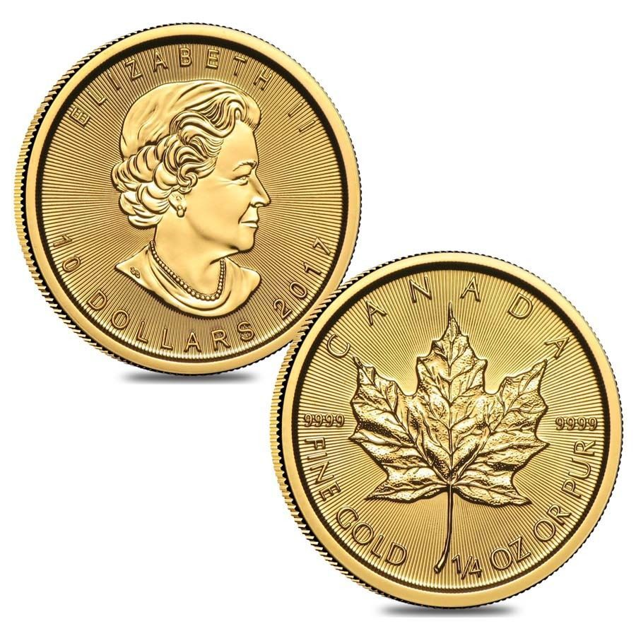 Lot Of 2 2017 1 4 Oz Canadian Gold Maple Leaf 10 Coin 9999 Fine Bu Sealed Coins 5 Coin Maple Leaf