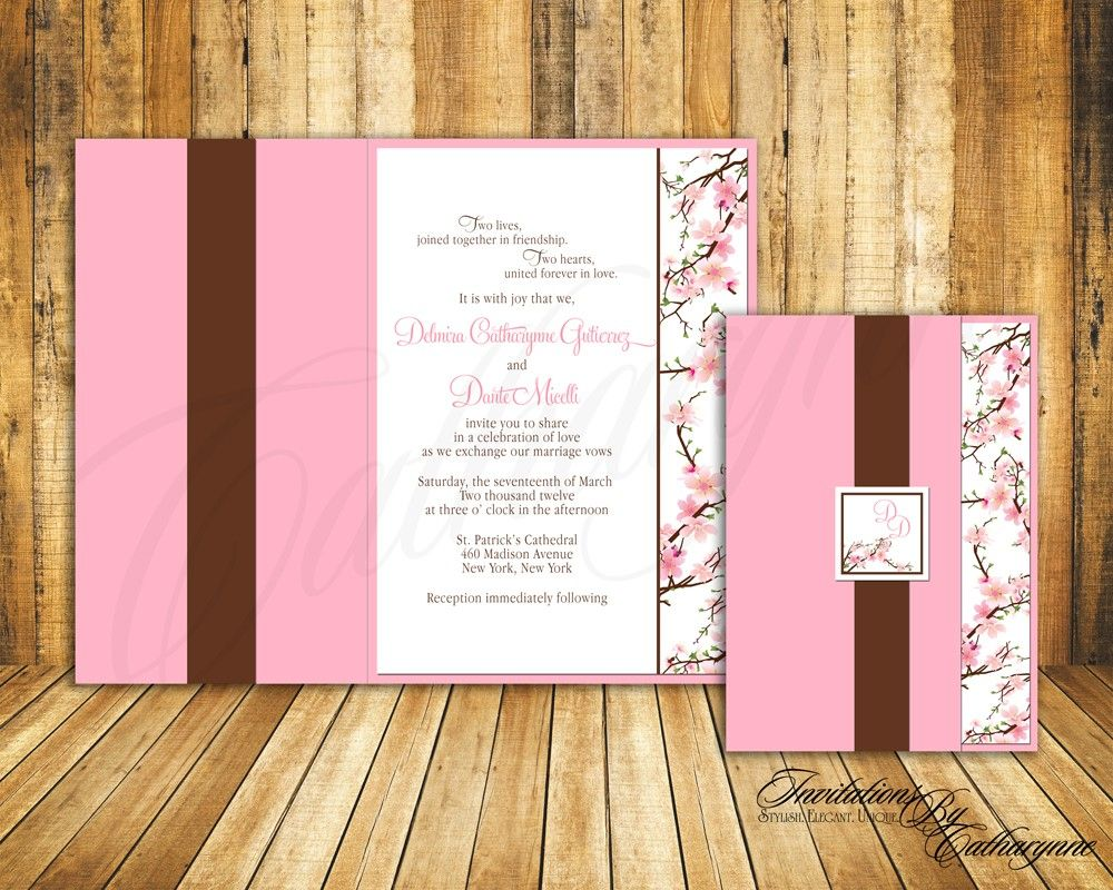 pink cherry blossom wedding invitations, spring wedding, Wedding invitations