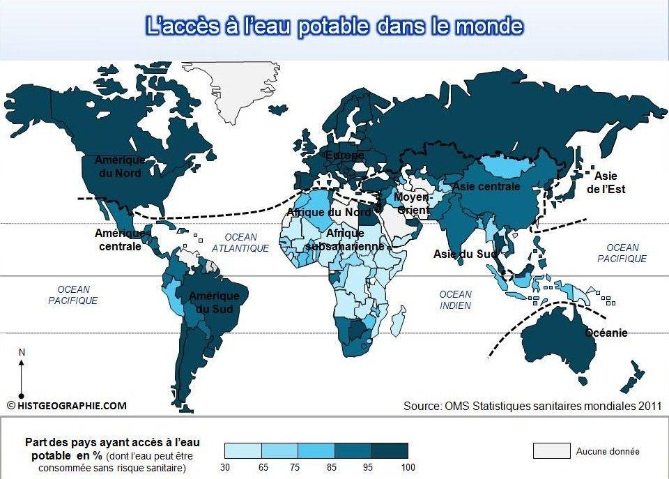 carte de l 39 in gal acc s l 39 eau potable dans le monde source histgeographie com d 39 apr s oms. Black Bedroom Furniture Sets. Home Design Ideas