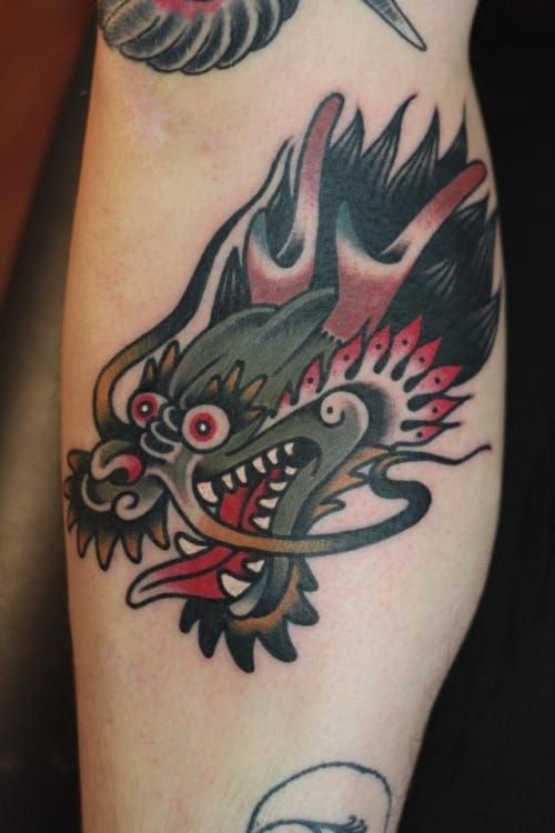 18 Vibrant Traditional Dragon Tattoos Dragon Head Tattoo Traditional Tattoo Dragon Dragon Tattoo Designs