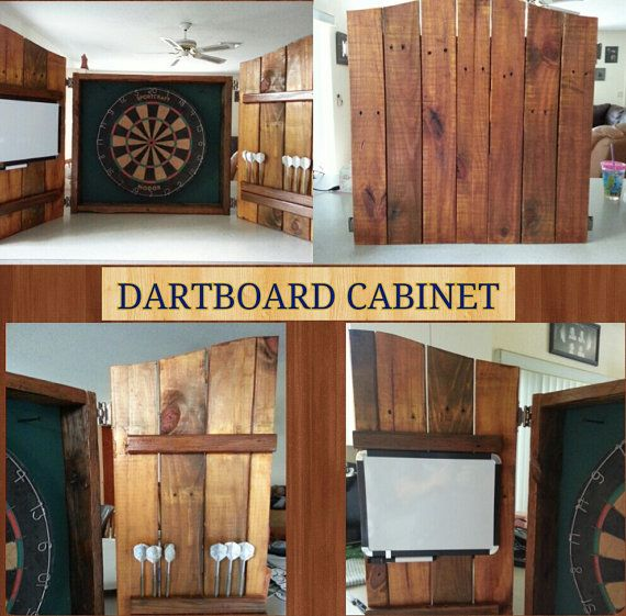 Rustic Dartboard Cabinet Made From Recycled Wood Pallet