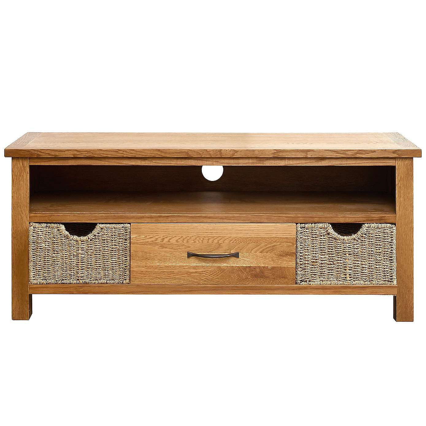 Sidmouth Oak Sideboard With Baskets Living Room Brown Living  # Meuble Tv Ware