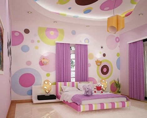 7-habitaciones-juveniles-chica-circulos   Niños recamaras ...